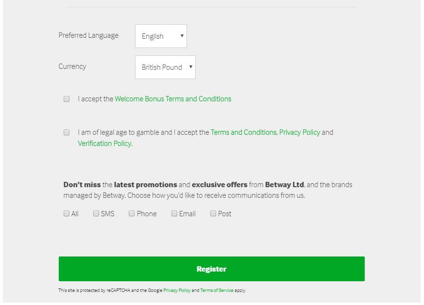 Betway Casino Registration 4