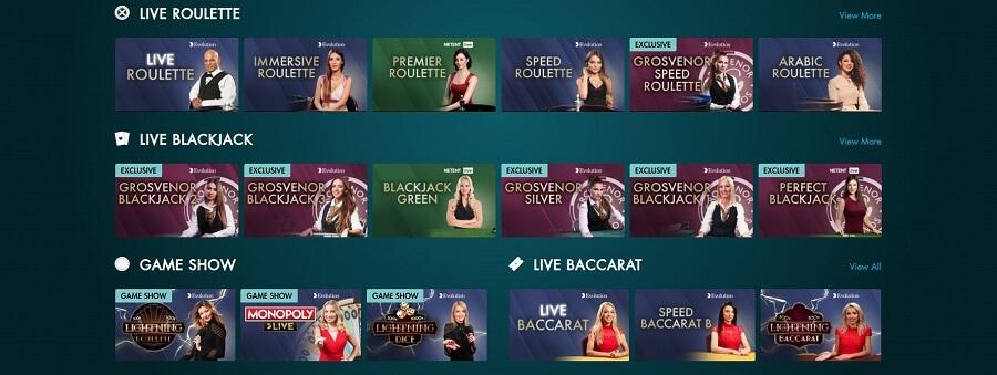 Grosvenor Casinos Live Casino