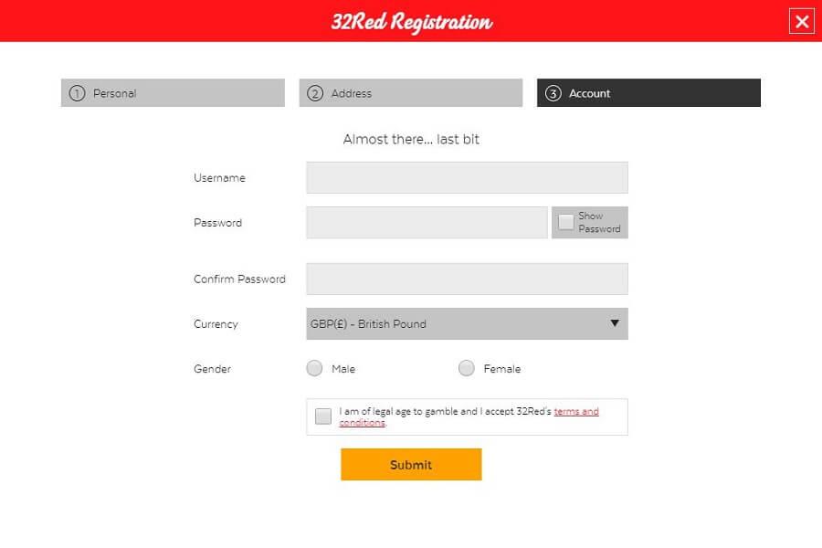 32Red Registration 4