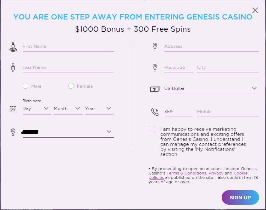 Genesis Casino Registration 3