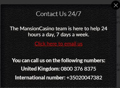 Mansion Casino Contact
