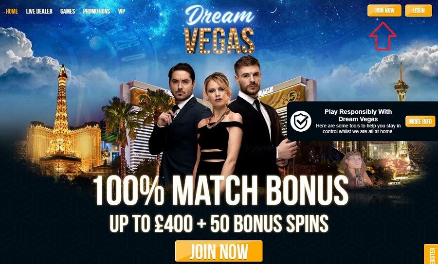 Dream Vegas Registration 1