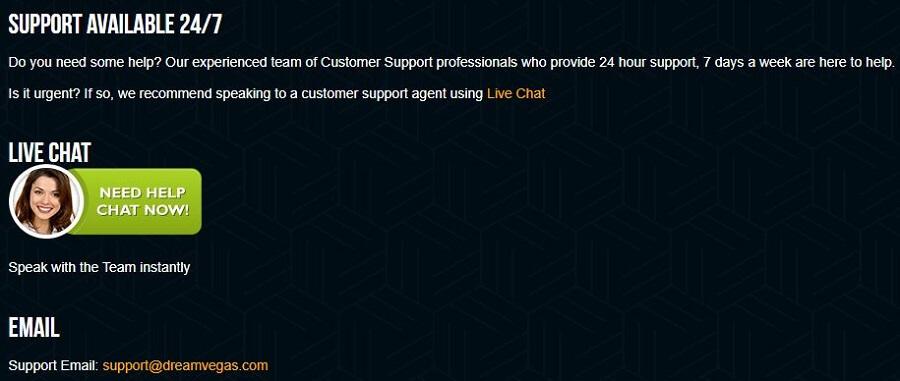 Dream Vegas Support