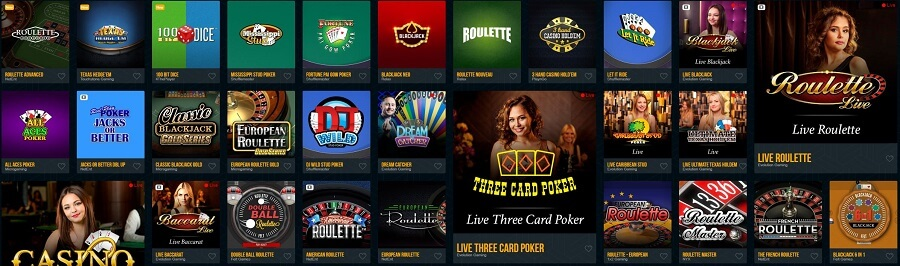 Dream Vegas Table Games