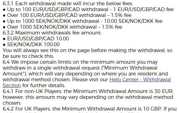 Mr Green Withdrawal Fees