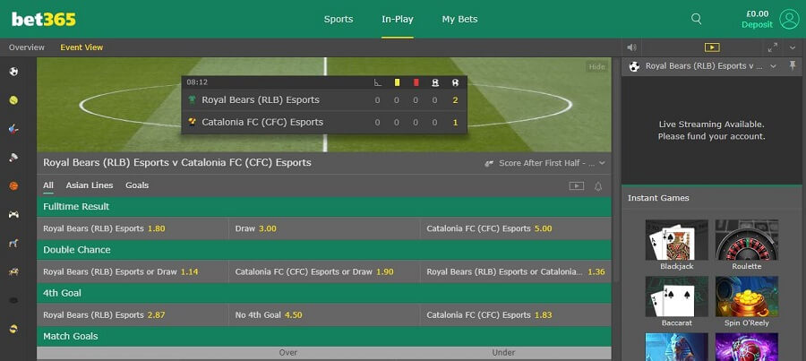 bet365 In Play Betting