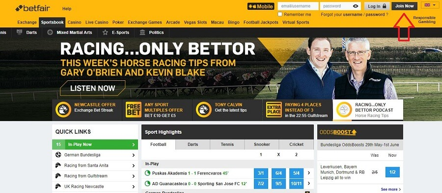 Betfair Registration 1