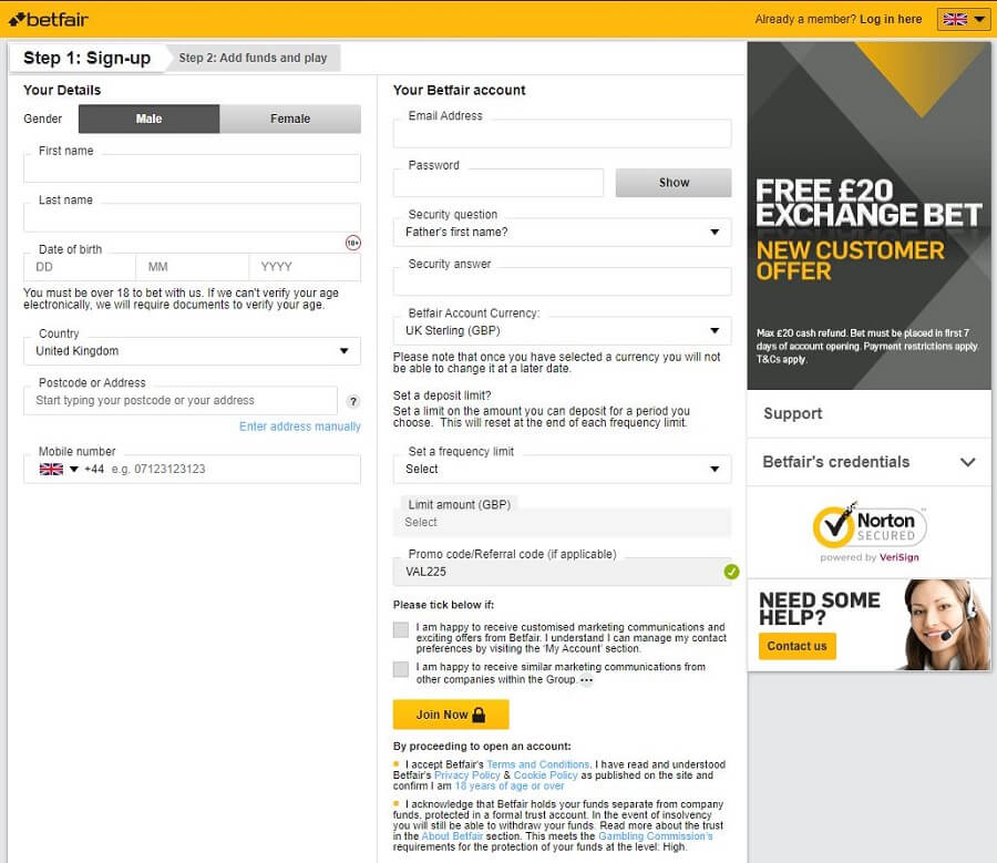 Betfair Registration 2