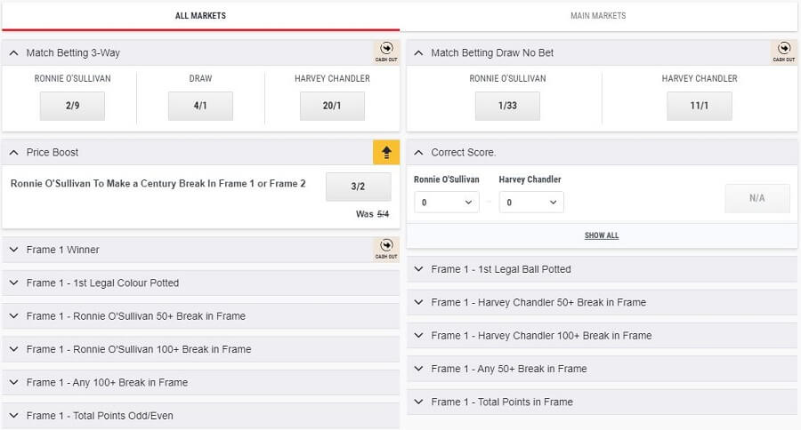 Ladbrokes Betting Variety Snooker