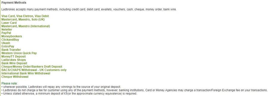 Ladbrokes Payment Methods