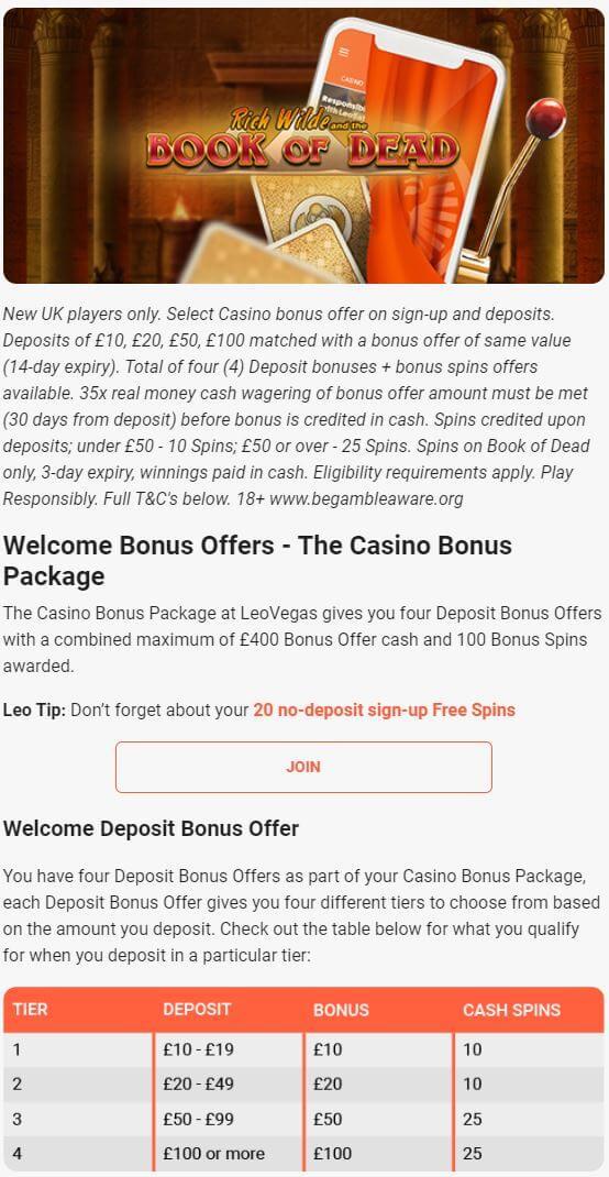 LeoVegas Welcome Bonus 2