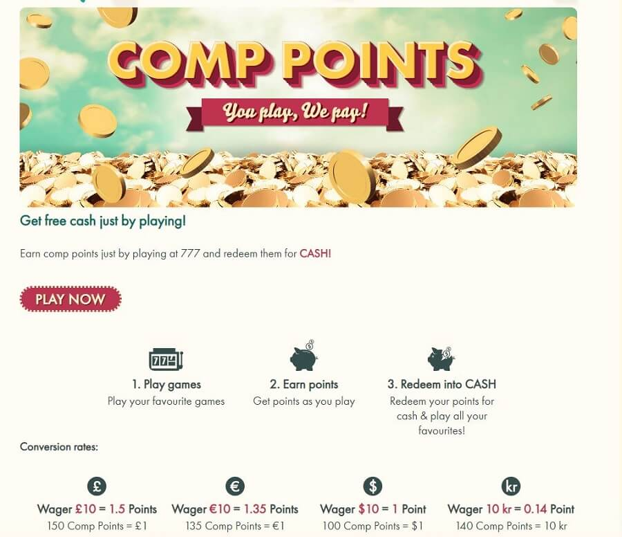 777 Casino Comp Points