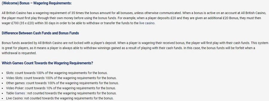 All British Casino Bonus Conditions