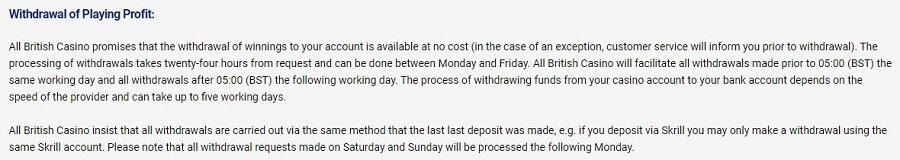 All British Casino Withdrawals