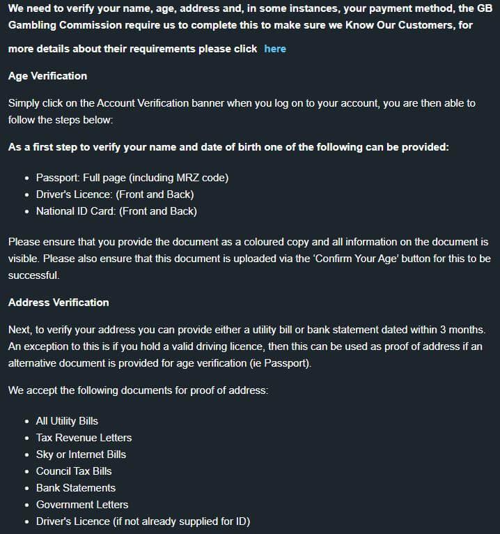 BetVictor Casino Verification