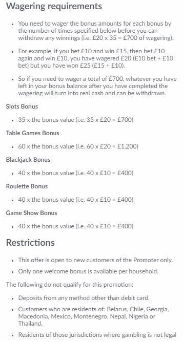 BetVictor Casino Welcome Bonus 3