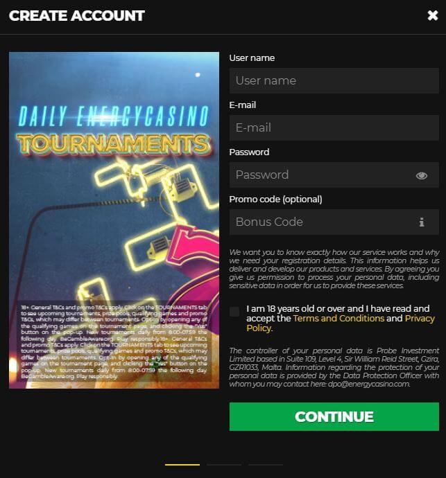 Energy Casino Register 2