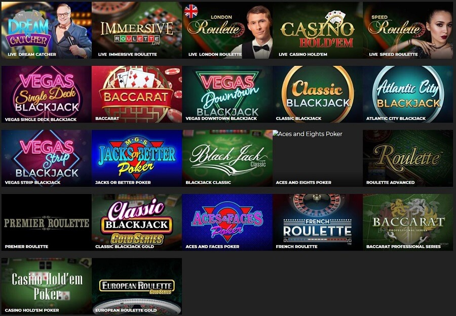 Energy Casino Table Games