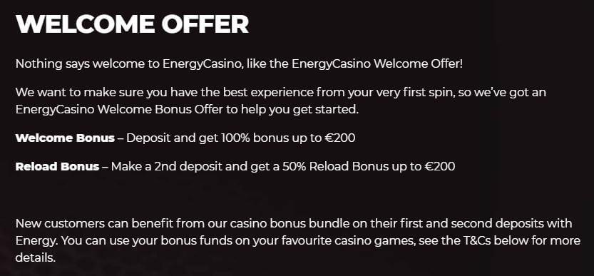 Energy Casino Welcome Bonus 2