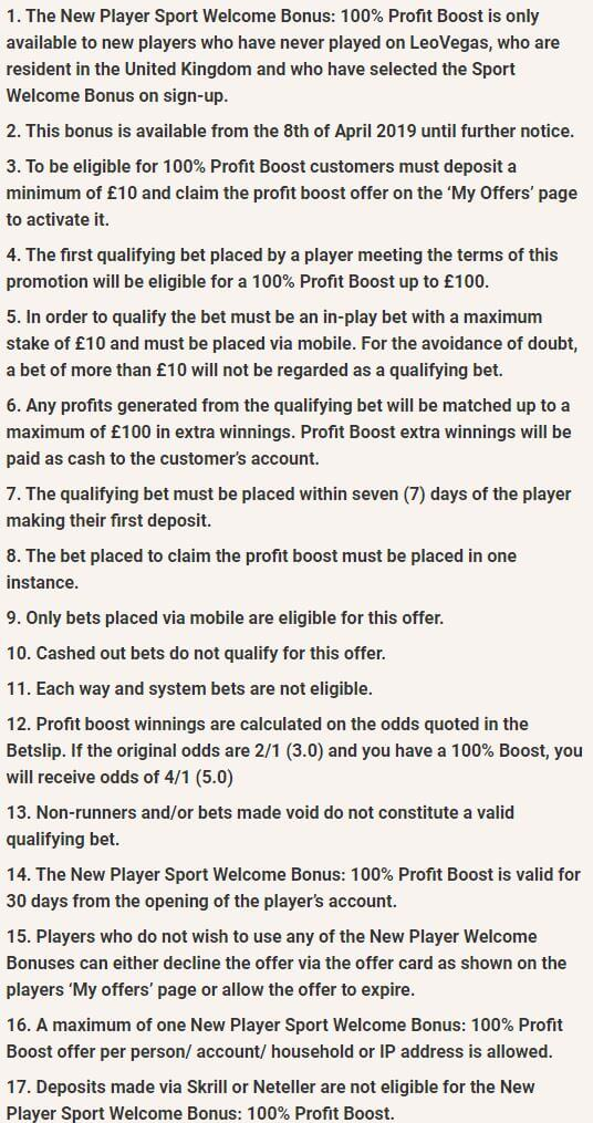 LeoVegas Bookmaker Welcome Bonus 3