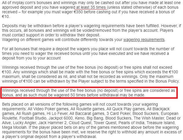 Mr Play Wagering Requirements 2