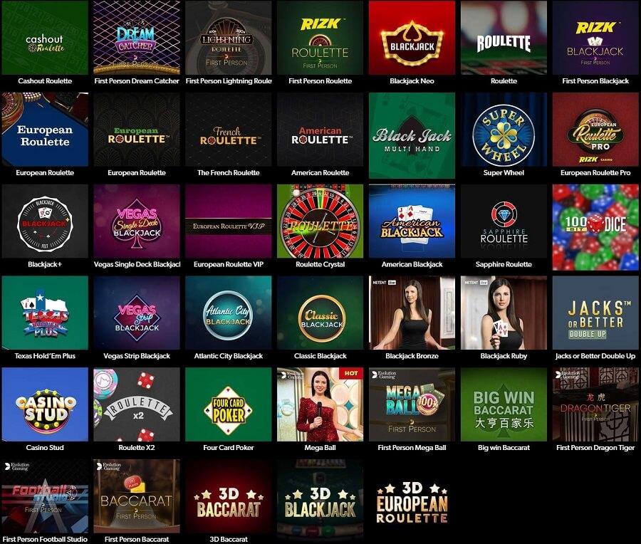 Rizk Casino Table Games
