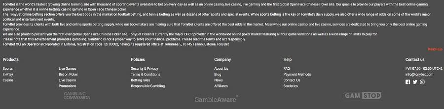 Tonybet Casino Security