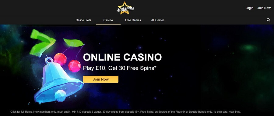 Starspins Casino Register 1